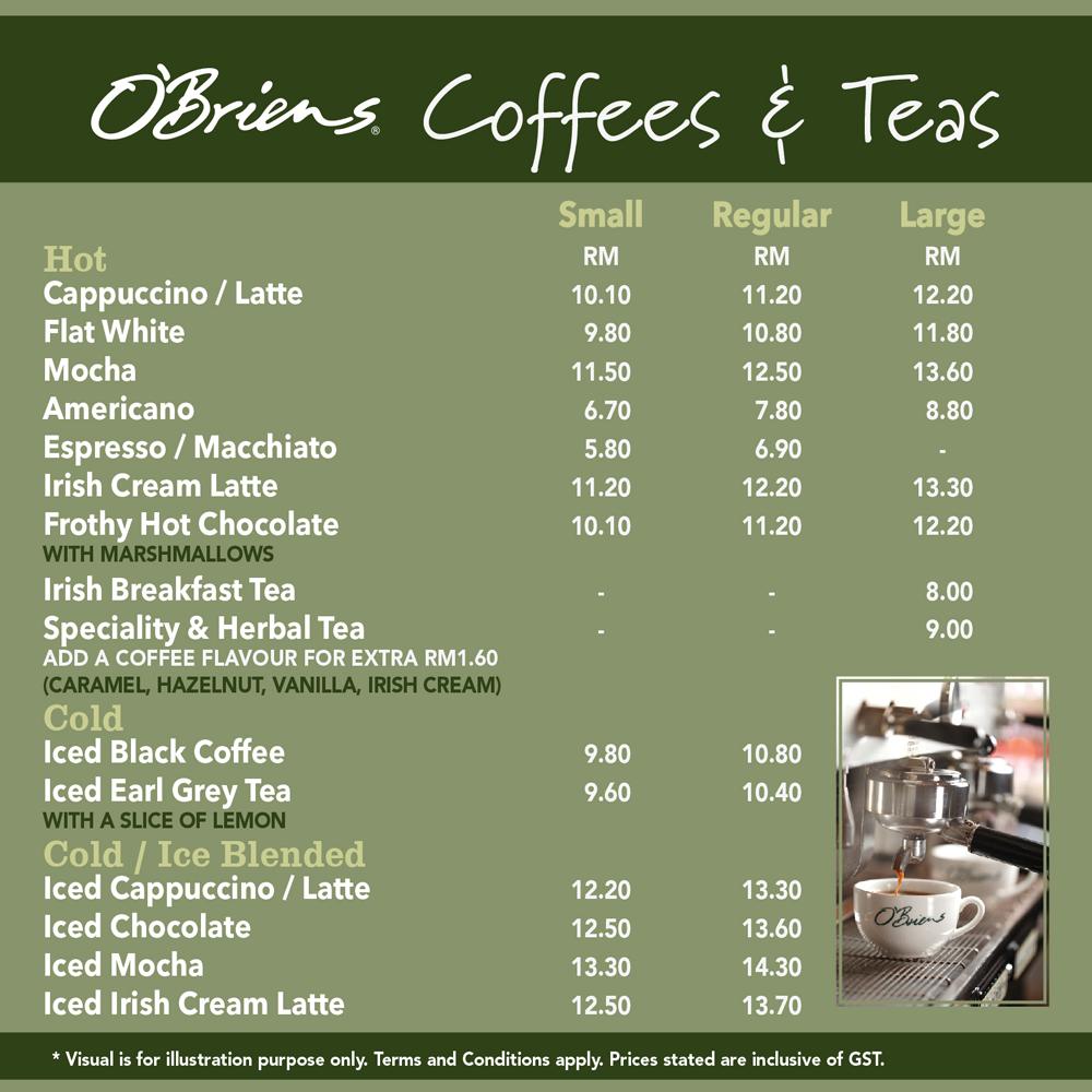O Briens Cafe Menu